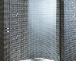 Black Mosaic Walk-in Alcove Shower